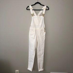 WE WORE WHAT white hi rise skinny overalls XS